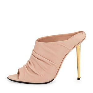 Tom Ford ruched nude leather high-heel Mule.